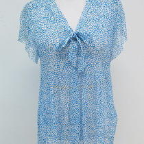 Joie Macy Printed Silk Tie-Neck Blouse Blue/white Size Extra Small 188 Photo