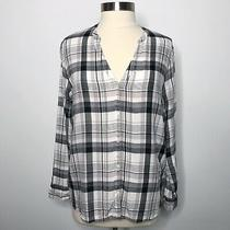 Joie Medium M Dane Top Plaid Button Front Blouse Porcelain Purple Blue Rayon  Photo