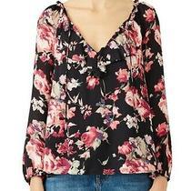 Joie Nadege Silk Top M Floral Print Ruffle Tie v-Neck Long Sleeve Blouse Womens Photo