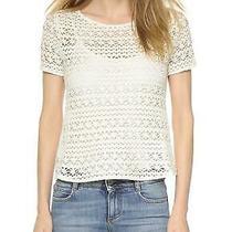 Joie Natural Ecru Sheer Neala Crochet Top Cotton Knit Short Sleeve Blouse S Photo