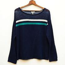 Joie Navy Striped Linen Blend Open Knit Sheer Top Pullover Boxy Sweater Sz S Photo