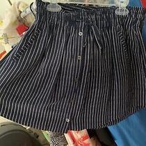 Joie Navy White Striped Silk Drawstring Mini Skirt Sz Small Photo