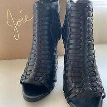 Joie Open Toe Black Leather Booties Shoes 38 Reg 360.00 Excellent Used Once Photo