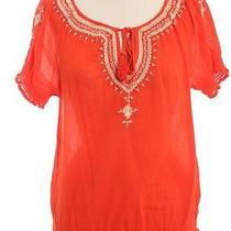 Joie Orange White Embroidered Key Hole Cotton Crepe Peasant Blouse Sz S Photo