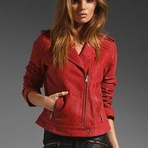 Joie Red Lexandra Leather Motorcycle Jacket Nwot Medium Coat Suede Photo