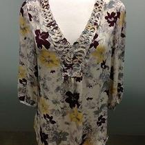 Joie Reed Rustic Floral Printed Silk Top Off-White Size S Msrp 254 Nwt Photo