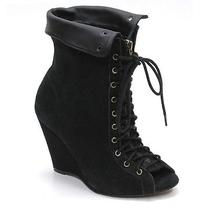 Joie Say It Aint So Black Suede Ankle Boots Ladies 36 Wedge Heels Lace Up 355 Photo