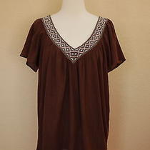 Joie Shirt Peasant Blouse Mocha Brown Turquoise Embroidery Short Slv India S Photo