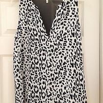 Joie Silk Tank Top Leopard Print Black White Size Medium Sheer Euc Photo