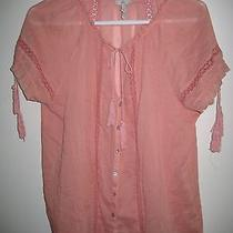 Joie Size M Pale Salmon Cotton Top With Lace and Other Details   Photo