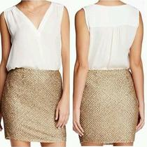Joie Skirt 4 Nw0t 428.00 Bricia Silk Embellished Sequined Mini Antique Gold Photo