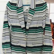 Joie Striped Blazer1button Frontcotton/linenmwhite Blackgreenbluepockets Photo