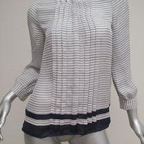 Joie Striped Button Down Blouse White and Navy Size Extra Small Gently Worn Photo