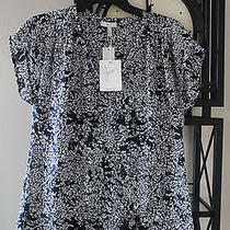 Joie Suela Printed Silk Blouse Printed Navy Sz Xs Photo