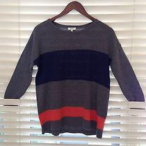 Joie Sweater Navy Gray and Orange Striped Sweater Photo