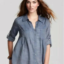 Joie Sz S Pinot Button Top Blue 100% Cotton Tab Sleeve Lightweight Semi Sheer Ct Photo