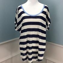 Joie Top Small Blue Ivory Linen Knit Maddie Stripe Scoop Neck Oversized Tee Photo