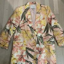 Joie Tropical Floral Pink Blush Linen Blazer Jacket 3/4 Sleeves Size 0 Photo