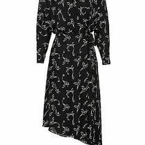 Joie Women Dress Black Size Xs Wrap Asymmetric-Hem Swirl Print Silk 398- 073 Photo