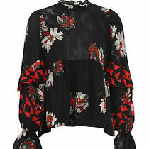 Joie Women's Blouse Black Size Small S Sheer Floral-Print Ruffle 328- 237 Photo