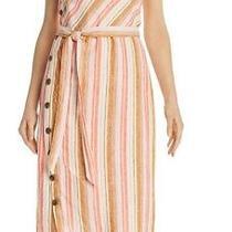 Joie Women's Dress Pink Size Xs Shift Button Striped Belted Linen Midi 278 433 Photo