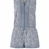 Joie Women's Romper Blue Size Small S Drawstring v-Neck Pockets Silk 348- 300 Photo