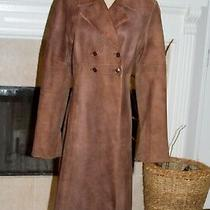 Joie Women's Size L Long Brown 100% Leather Lined Double Breasted Coat Trench Photo