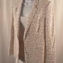 Joie Women's White Snow Leopard Gray Animal Print Linen Blazer Sz 4 Photo