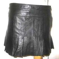 Joie Womens Black Leather Plated Mini Skirt 6 Photo