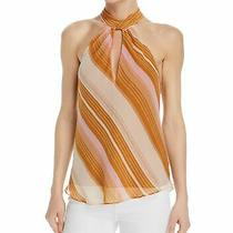 Joie Womens Blouse Rust Orange Size Xxs Keyhole Stripe Halter Silk 228 538 Photo