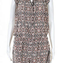 Joie Womens Machiko Scoop Neck Geometric Print Romper Beige Size Medium 10365494 Photo