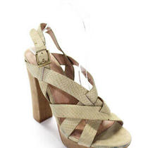 Joie  Womens Snakeskin Print Cross Strap Platform Block Heel Sandals Beige 7.5 Photo