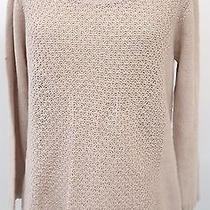 Joie Womens Tan See-Through Long Sleeve High Low Sweater Size Medium Photo