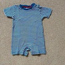 Jojo Maman Bebe 6-12 Months Short Romper Blue & White Stripe Breton Photo