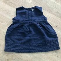 Jojo Maman Bebe Baby Girls Dress 0-3 Months Blue Denim Tieback Tunic Linen Cute Photo