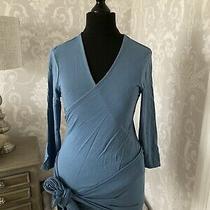 Jojo Maman Bebe Blue Maternity Nursing Wrap Tie Front Top Size S Photo