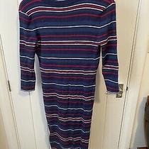 Jojo Maman Bebe Maternity Blue Multi Stripe Jumper Dress Size M 12-14 Stretch Photo
