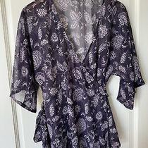 Jojo Maman Bebe Size 12 Maternity Wrap Top Purple/white Floral Semi Sheer Photo