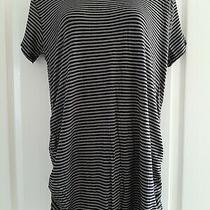 Jojo Maman Bebe - Striped Black and Grey Maternity Top Tshirt - Medium Photo