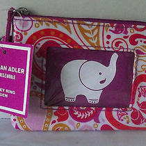 Jonathan Adler Elephant Change Purse Mini Key Ring Pouch Pink Orange Paisley New Photo