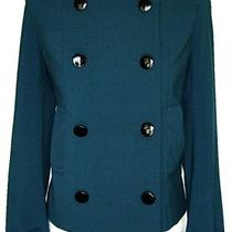 Jones New Yorkaqua Rayon Stretch Military Double Beast Crop Pea Coat Jacket 10 Photo