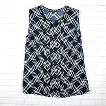 Jones New York Collection Plaid Shirt Size 12 Women Black White Sleeveless Photo