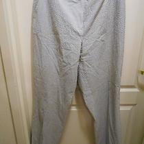 Jones New York Collection Sz 16 Stretch White Gray Seersucker Striped Pants Photo