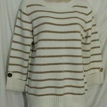 Jones New York  Gold Sparkle Striped Spring Sweater Jewelry Sleeves Photo