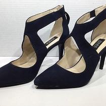 Jones of New York Christie Women's Size 6.5 Navy Suede Heels Shoes X-249 Photo