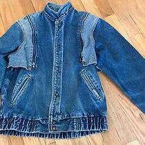 Jordache Vintage 1980s Ladies Long Blue Two Tone Denim Jacket Size  Lg Photo