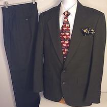 Jos a Bank Business Express Dark Green Nailshead 2 Pc Suit Men Size 40l Waist 30 Photo