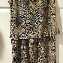 Josie Natori 2 Piece Semi Sheer Africa Animal Print Capri Pant Pajama Set Sz-M Photo