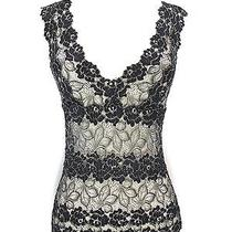 Josie Natori Women Black & Gold Lace Sheer Blouse Top Sleeveless v Neck Shirt S Photo