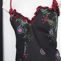 Josie Women's Tank Top S Black W Multi Color Flowers Spag Strap Sleevelesspo Photo